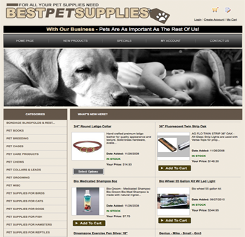 Pet supply website using drop ship products