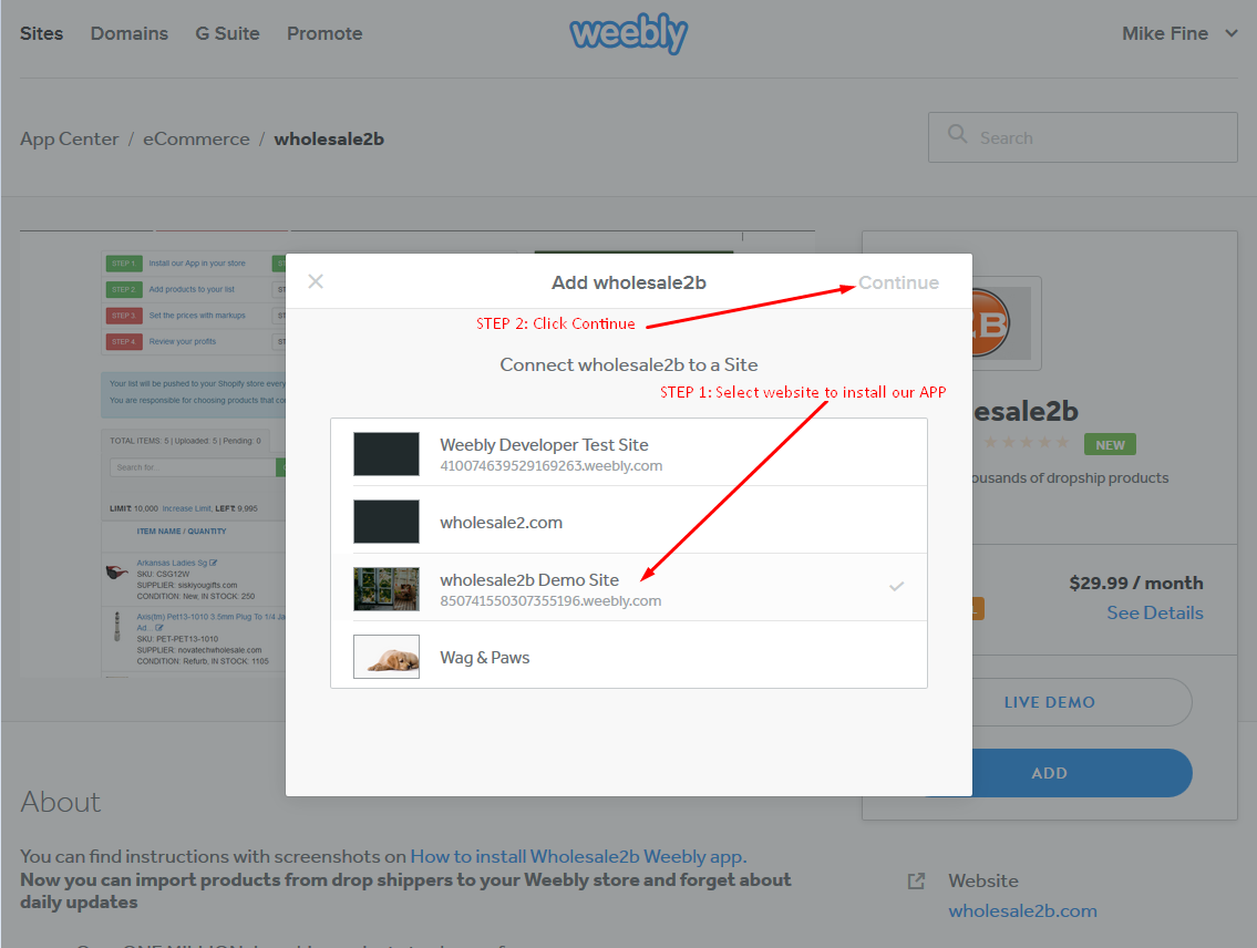 HOW TO INSTALL WHOLESALE2B WEEBLY APP